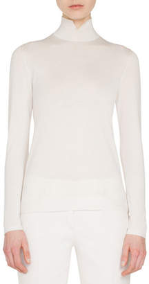 Akris Slit Mock-Neck Long-Sleeve Cashmere-Silk Knit Pullover Top