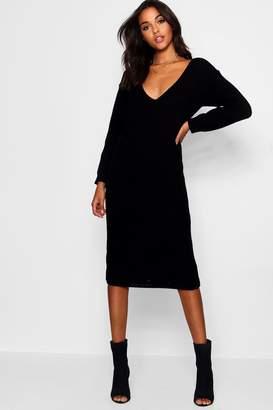 boohoo V Neck Oversized Midi Jumper Dress