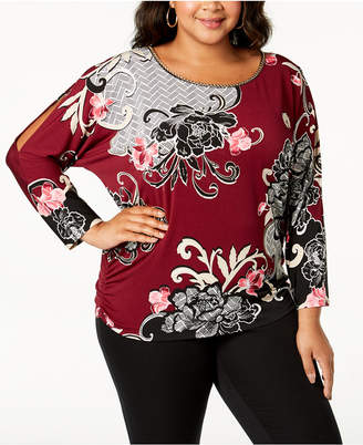 JM Collection Plus Size Printed Dolman Split-Sleeve Top, Created for Macy's
