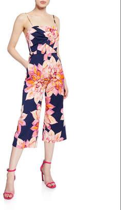 Trina Turk Scenery Floral-Print Spaghetti-Strap Crop Jumpsuit