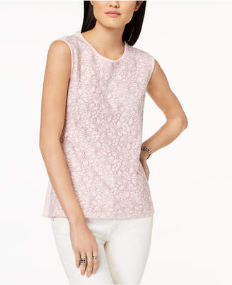 Tommy Hilfiger Sleeveless Lace-Contrast Top, Created for Macy's