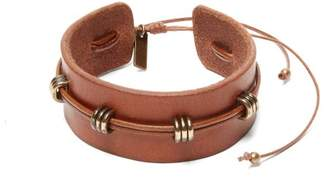 Saint Laurent Loop Embellished Leather Bracelet - Womens - Brown