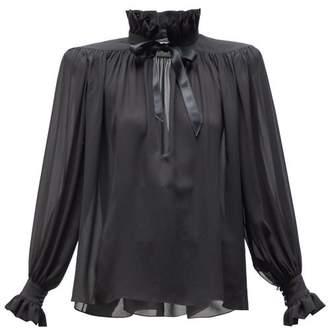 Saint Laurent High Neck Wide Shoulder Silk Chiffon Blouse - Womens - Black