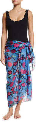 Anna Coroneo Cherries Classic Voile Pareo, Blue/Red