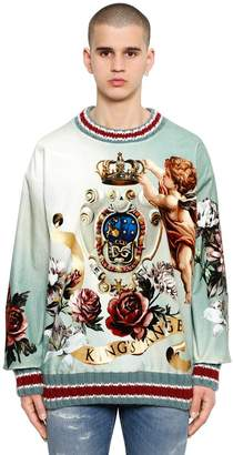 Dolce & Gabbana Oversize Angel Silk Velvet Sweatshirt