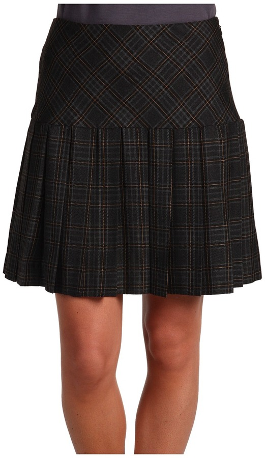 DKNYC  Gauze Plaid Pleated Mini Skirt