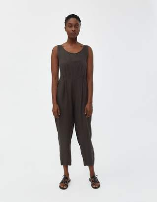 Black Crane Sleeveless Overall in Charcoal