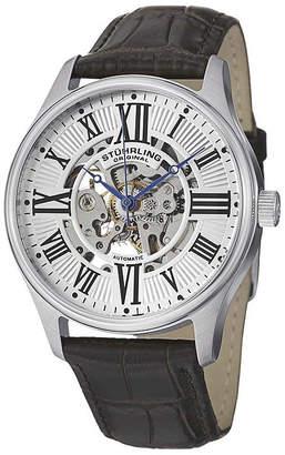 Stuhrling Original Original Mens Brown Leather Strap Skeletonized Watch-8134
