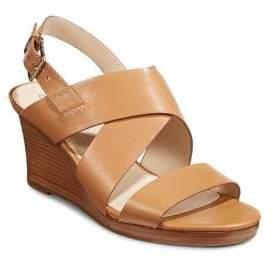 Cole Haan Crisscross Leather Wedge Sandals