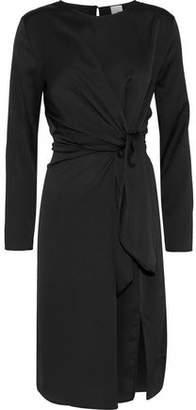 Iris & Ink Lily Tie-Front Hammered-Satin Dress