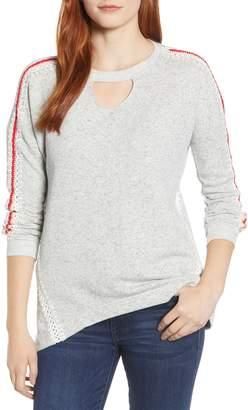 Wit & Wisdom Crochet Detail Keyhole Neck Sweater