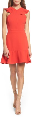Chelsea28 Cross Front Ruffle Fit & Flare Dress