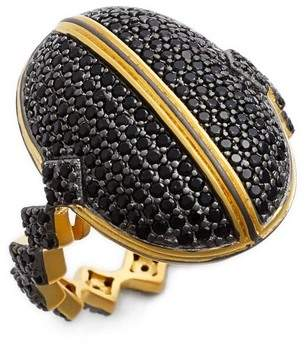 Freida Rothman 14K Gold & Black Rhodium Plated Sterling Silver Harlequin Edge Pave Dome Ring - Size 6