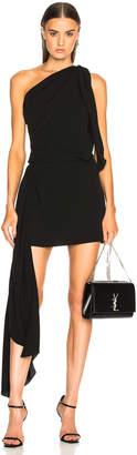 Saint Laurent One Shoulder Draped Mini Dress