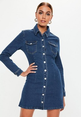 Missguided Dark Blue Button Through Fitted Denim Dress