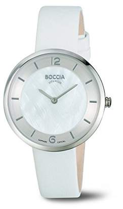 Mother of Pearl Boccia Women's Quartz Watch with Dial Analogue Display and White Leather Strap B3244-01