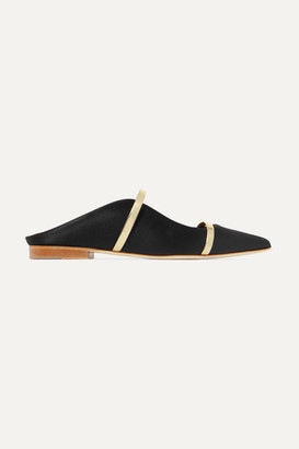 Malone Souliers by Roy Luwolt - Maureen Metallic Leather-trimmed Satin Point-toe Flats - Black