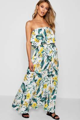 boohoo Savannah Double Ruffle Tropical Print Maxi Dress