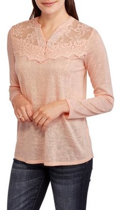 Faded Glory Women's 3/4 Sleeve Peasant Top with Feminine Lace Front Detail
