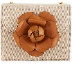 Oscar de la Renta Tro Mini Canvas Crossbody Bag with Flower