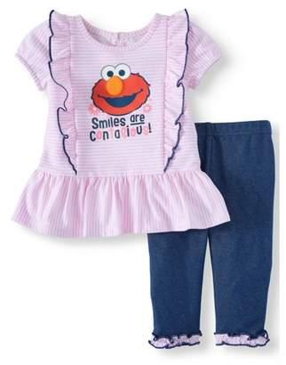 79d58c5cc3d8e Sesame Street Elmo Short Sleeve Ruffle Tunic Top & Leggings, 2pc Outfit Set  (Baby