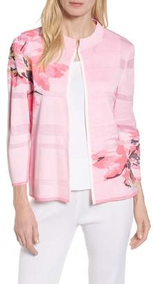 Ming Wang Floral Knit Jacket