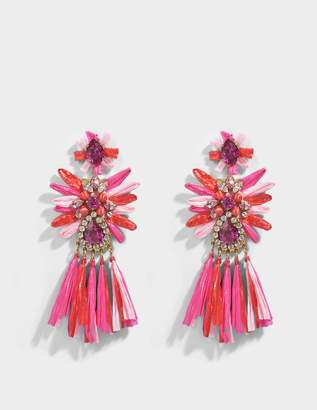 Shourouk Sicily Pink Earrings in Pink Brass, Raffia and Swarovski Crystals