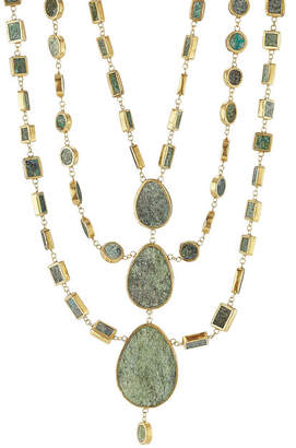 Pippa Small Gold Plated Silver Necklace with Chrysocolla Stones