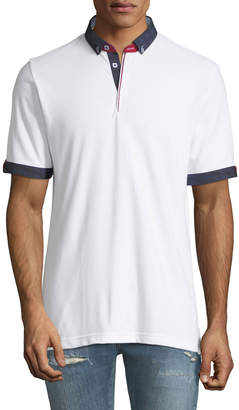 Maceoo Check-Trim Pique Polo Shirt