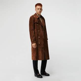Burberry Suede Trench Coat , Size: 50, Brown