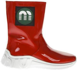 Miu Miu Red Color Rubber Boots With Logo Patch
