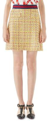Gucci Crystal Tweed A-Line Skirt
