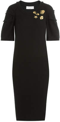 Sonia Rykiel Virgin Wool Dress with Embroidered Motifs