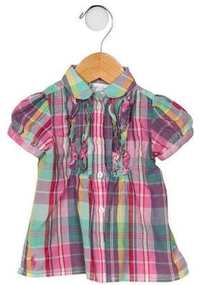 Ralph Lauren Girls' Plaid Short Sleeve Dress