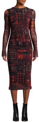 Fuzzi Long-Sleeve Shirred Plaid Midi Sheath Dress