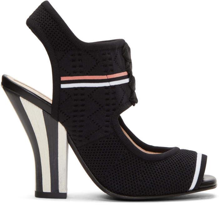 Fendi Black Stretch Sock Sandals