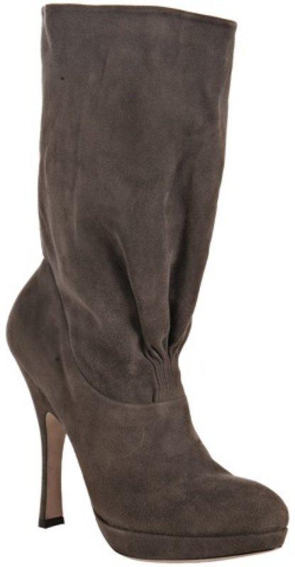 Prada ash ruched suede platform boots