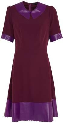 Manley - Sadie Leather Collar Dress Aubergine