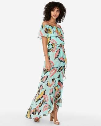 3234f364ebe2 Express Tropical Ruffle Off The Shoulder Maxi Dress