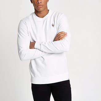River Island Only and Sons white embroidered sweatshirt