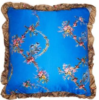 Preen by Thornton Bregazzi Floral Print Silk Cushion - Womens - Blue
