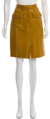 Ellen Tracy Linda Allard Leather Knee-Length Pencil Skirt