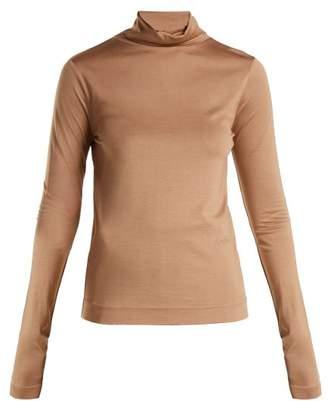 Joseph Silk Jersey Roll Neck Top - Womens - Camel