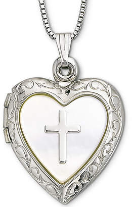 Mother of Pearl FINE JEWELRY Mother-of-Pearl Heart & Cross Locket Pendant Necklace