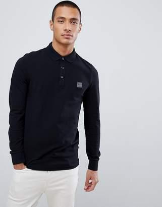BOSS Passerby slim fit long sleeve logo polo in black