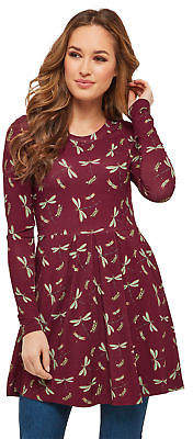 Joe Browns Womens Tunic in All Over Dragonfly Print Burgundy A 8