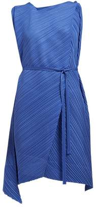 Pleats Please Issey Miyake Asymmetric Pleated Dress - Womens - Blue