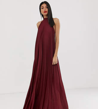 a6d030ce67da7c Asos Tall DESIGN Tall backless halter pleated maxi dress