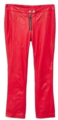 MANGO Contrast seam leather trousers