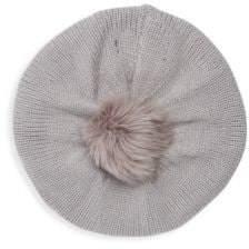 Adrienne Landau Dyed Fox Fur Pom-Pom Beret